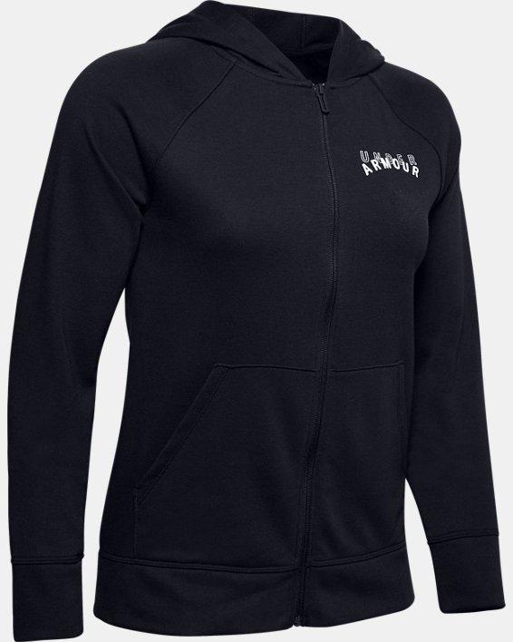 Women's UA Rival Terry Full Zip, Black, pdpMainDesktop image number 4