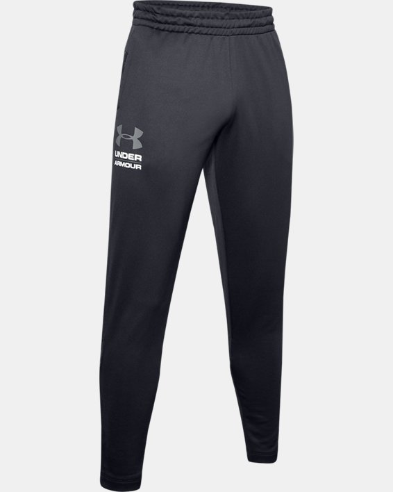 Men's UA Tech™ Terry Tapered Pants, Black, pdpMainDesktop image number 4