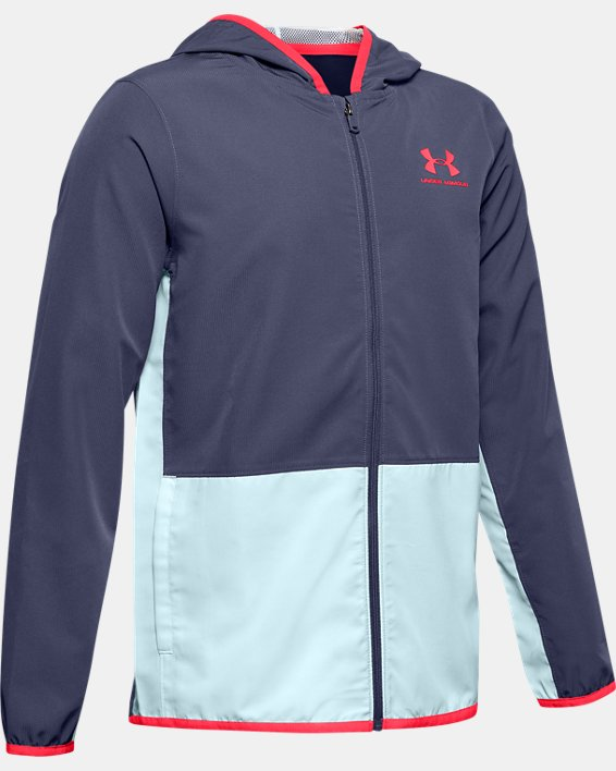 Boys' UA Woven Track Jacket, Blue, pdpMainDesktop image number 0