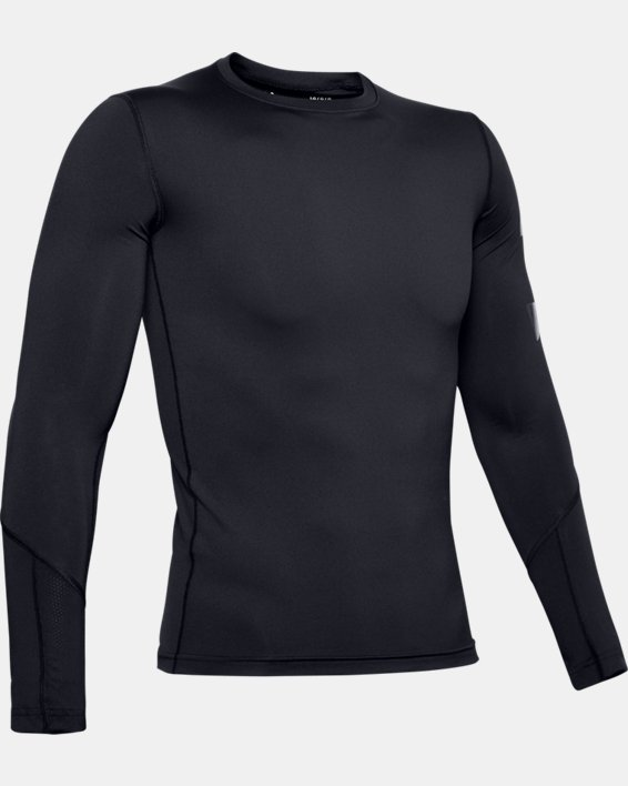 Men's HeatGear® Armour Long Sleeve, Black, pdpMainDesktop image number 4