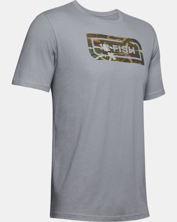 Men's UA Inline Camo Fill T-Shirt, Gray, pdpMainDesktop image number 4