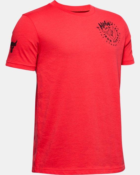 Boys' Project Rock Iron Paradise Short Sleeve, Red, pdpMainDesktop image number 0