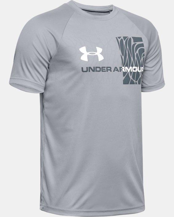 Boys' UA Tech™ Splash Gradient Short Sleeve, Gray, pdpMainDesktop image number 0