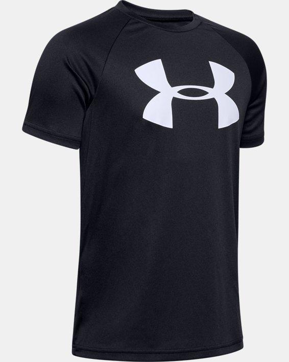 Boys' UA Tech™ Big Logo Short Sleeve, Black, pdpMainDesktop image number 0