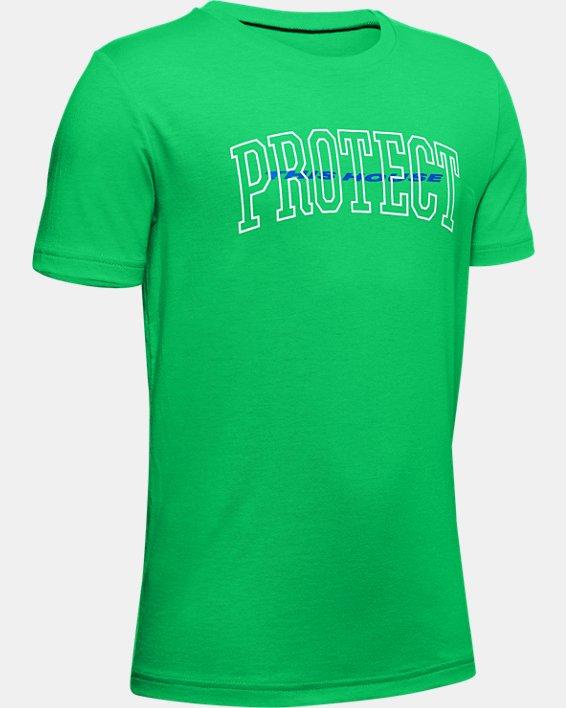Boys' UA Tech™ Protect This House Short Sleeve, Green, pdpMainDesktop image number 0