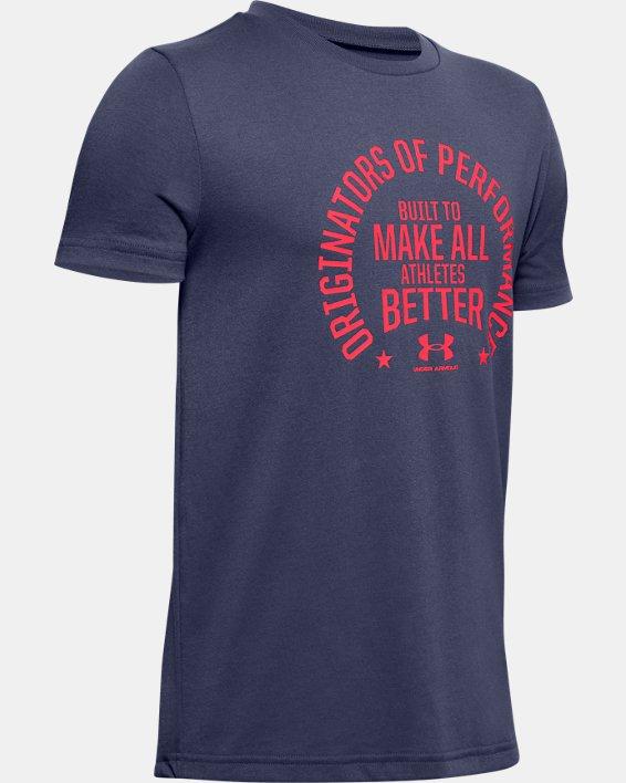 Boys' UA Performance Originators Short Sleeve, Blue, pdpMainDesktop image number 0