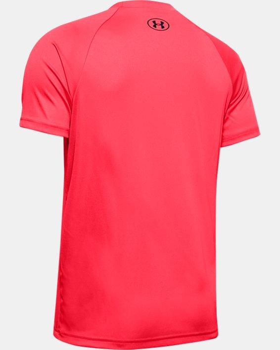Boys' UA Tech™ Glow Gradient Wordmark Short Sleeve, Red, pdpMainDesktop image number 1