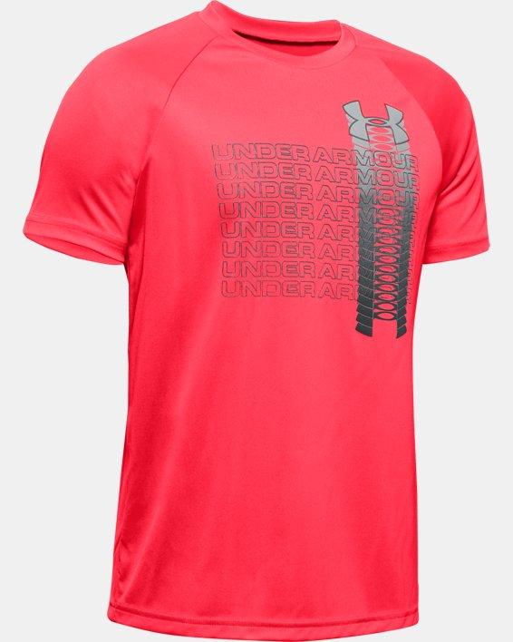 Boys' UA Tech™ Glow Gradient Wordmark Short Sleeve, Red, pdpMainDesktop image number 0