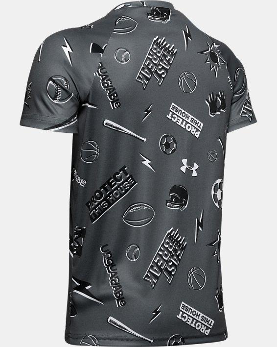 Boys' UA Tech™ Sporty All Over Short Sleeve, Gray, pdpMainDesktop image number 1