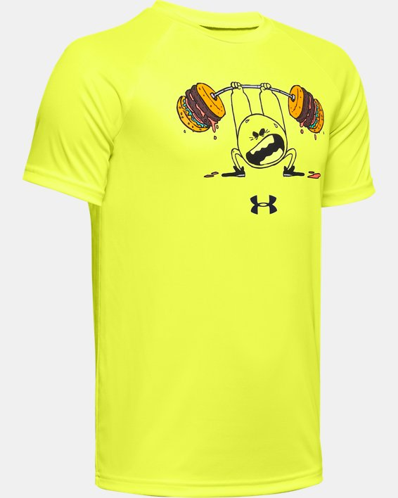Boys' UA Tech™ Burger Emoji Short Sleeve, Yellow, pdpMainDesktop image number 0