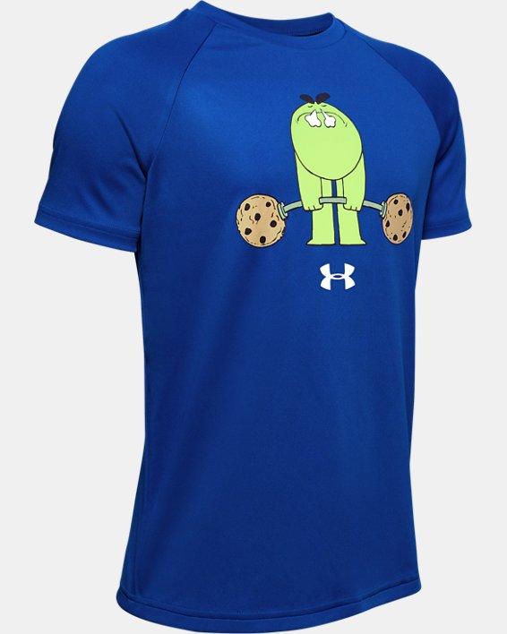 Boys' UA Tech™ Cookie Emoji Short Sleeve, Blue, pdpMainDesktop image number 0