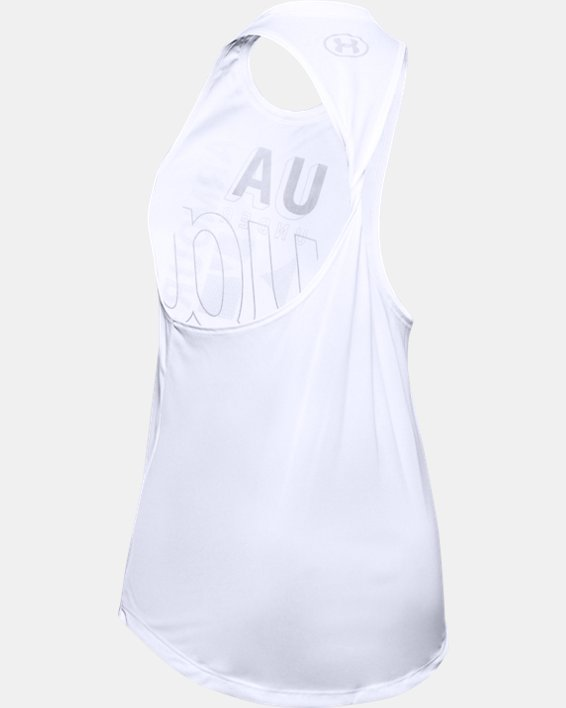 Girls' UA Tech™ Branded Tank, White, pdpMainDesktop image number 1