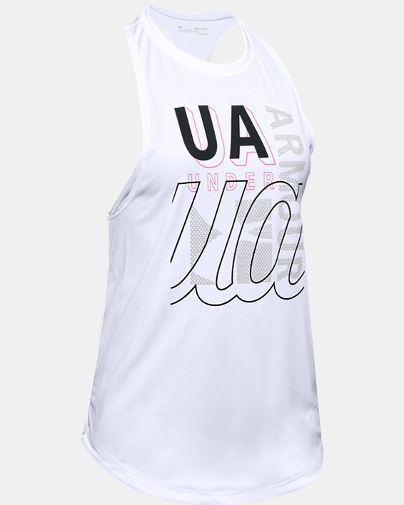 Girls' UA Tech™ Branded Tank, White, pdpMainDesktop image number 0