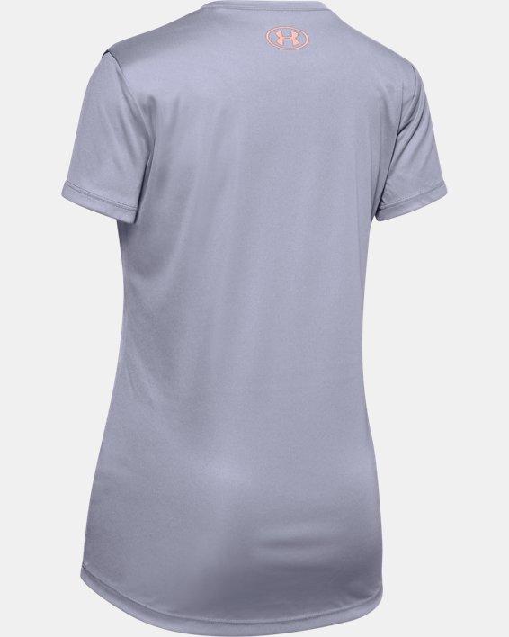 Girls' UA Big Logo Short Sleeve T-Shirt, Purple, pdpMainDesktop image number 1