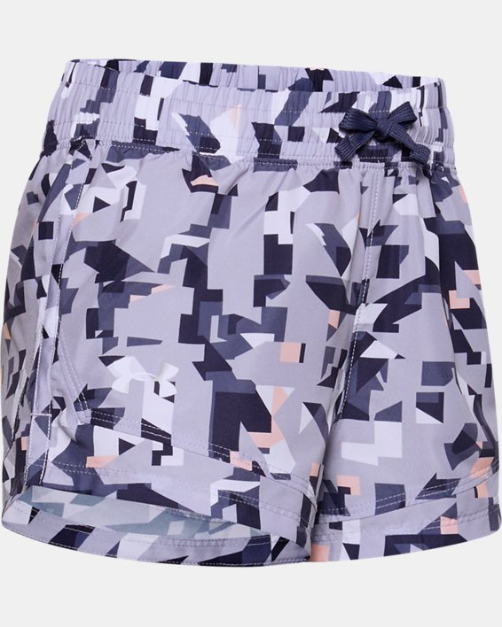 Girls' UA Sprint Printed Shorts, Purple, pdpMainDesktop image number 0