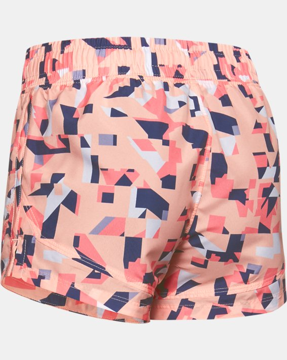 Girls' UA Sprint Printed Shorts, Orange, pdpMainDesktop image number 1