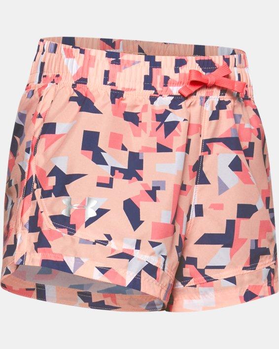 Girls' UA Sprint Printed Shorts, Orange, pdpMainDesktop image number 0