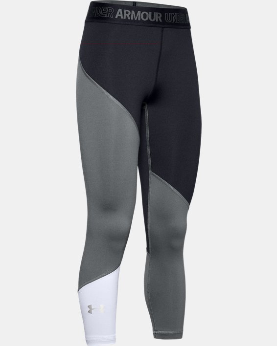 Girls' HeatGear® Armour Ankle Crop, Black, pdpMainDesktop image number 0