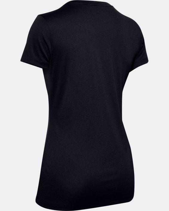 Women's UA Tech™ Jacquard Short Sleeve Crew, Black, pdpMainDesktop image number 4