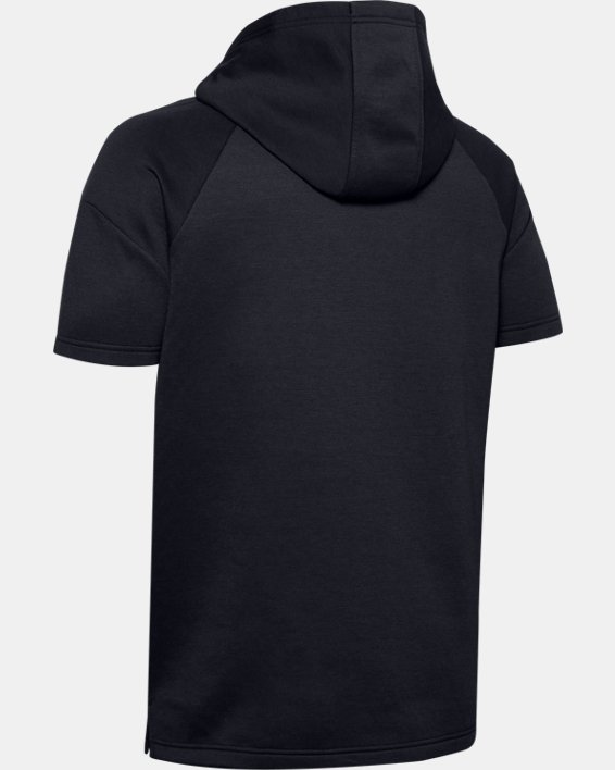 Men's UA RECOVER™ Fleece Short Sleeve Hoodie, Black, pdpMainDesktop image number 4