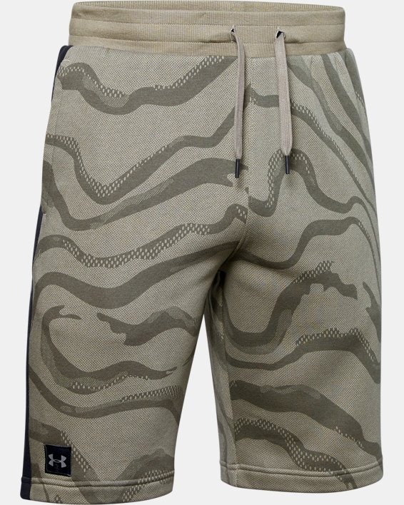 Men's UA Speckled Fleece Printed Shorts, Green, pdpMainDesktop image number 4