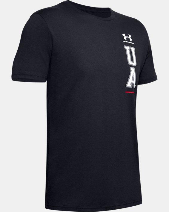 Men's UA Vertical Left Chest Short Sleeve, Black, pdpMainDesktop image number 3