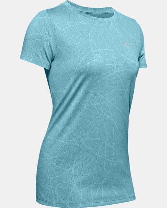 Women's UA Tech™ Defense Jacquard Short Sleeve, Blue, pdpMainDesktop image number 4