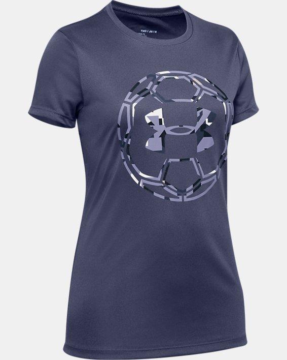 Girls' UA Soccer Graphic T-Shirt, Blue, pdpMainDesktop image number 0