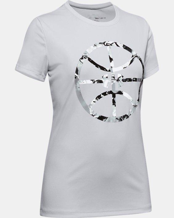 Girls' UA Basketball Graphic T-Shirt, Gray, pdpMainDesktop image number 0