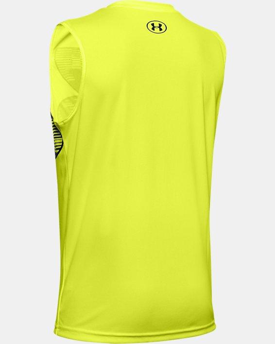 Boys' UA Velocity Graphic Sleeveless, Yellow, pdpMainDesktop image number 1