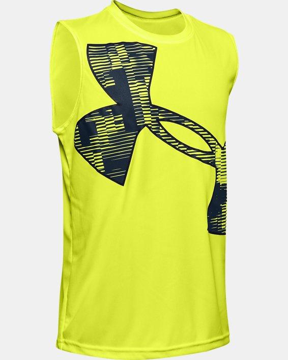Boys' UA Velocity Graphic Sleeveless, Yellow, pdpMainDesktop image number 0