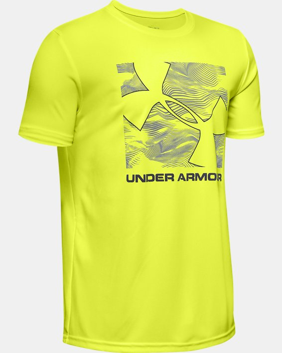 Boys' UA Velocity Big Logo Short Sleeve, Yellow, pdpMainDesktop image number 0