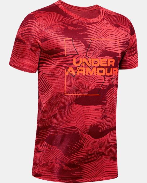 Boys' UA Velocity Big Logo Jacquard Short Sleeve, Red, pdpMainDesktop image number 0
