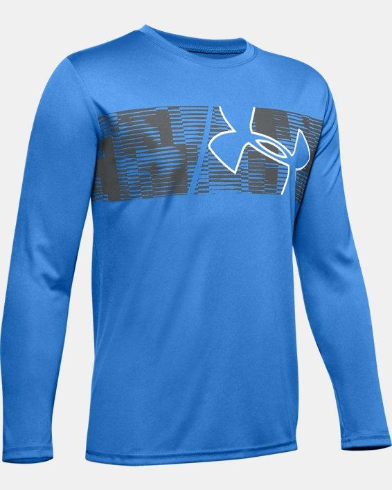 Boys' UA Velocity Graphic Long Sleeve, Blue, pdpMainDesktop image number 0