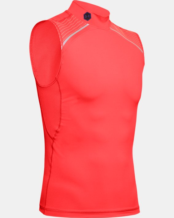 Men's UA RUSH™ 7v7 Sleeveless Mock, Red, pdpMainDesktop image number 3