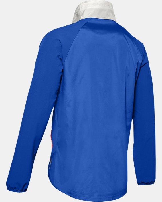 Men's UA Stretch Woven ½ Zip Jacket, Blue, pdpMainDesktop image number 4