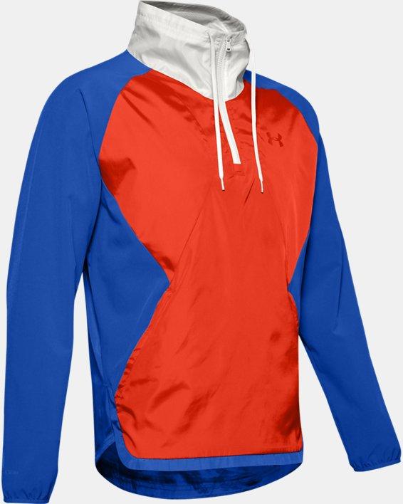 Men's UA Stretch Woven ½ Zip Jacket, Blue, pdpMainDesktop image number 3