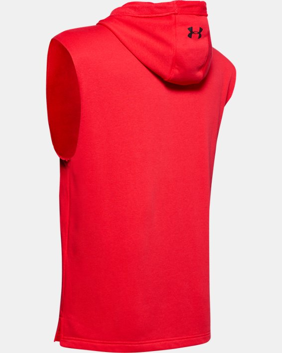 Men's Project Rock Terry Sleeveless Hoodie, Red, pdpMainDesktop image number 4