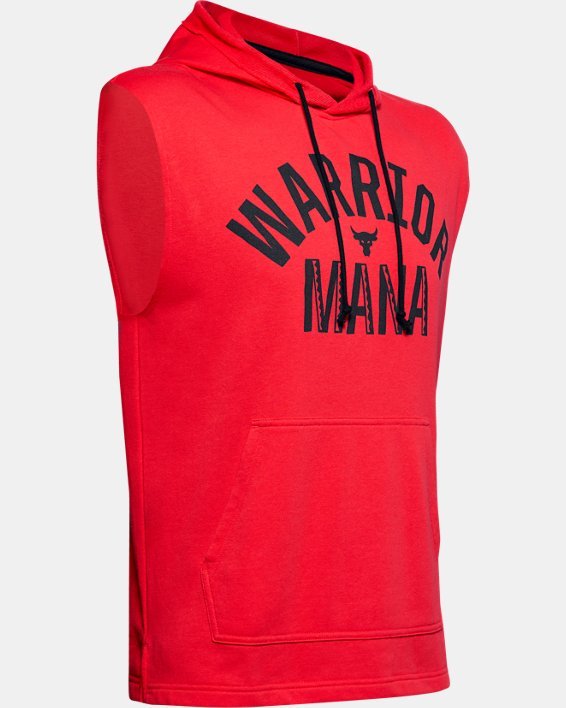 Men's Project Rock Terry Sleeveless Hoodie, Red, pdpMainDesktop image number 3
