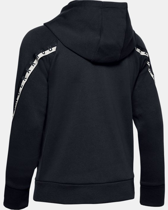 Women's UA Taped Fleece Full Zip, Black, pdpMainDesktop image number 5