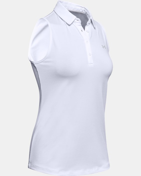 Women's UA Zinger Sleeveless Polo, White, pdpMainDesktop image number 4