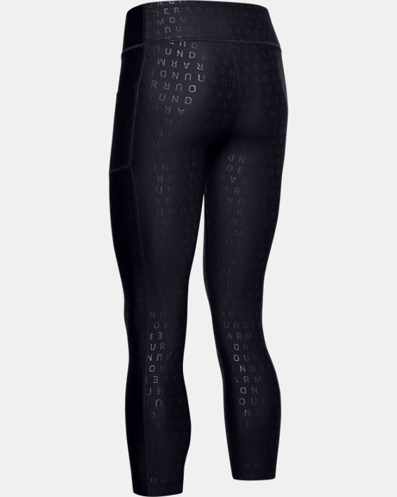 Women's HeatGear® Armour Printed Ankle Crop, Black, pdpMainDesktop image number 4