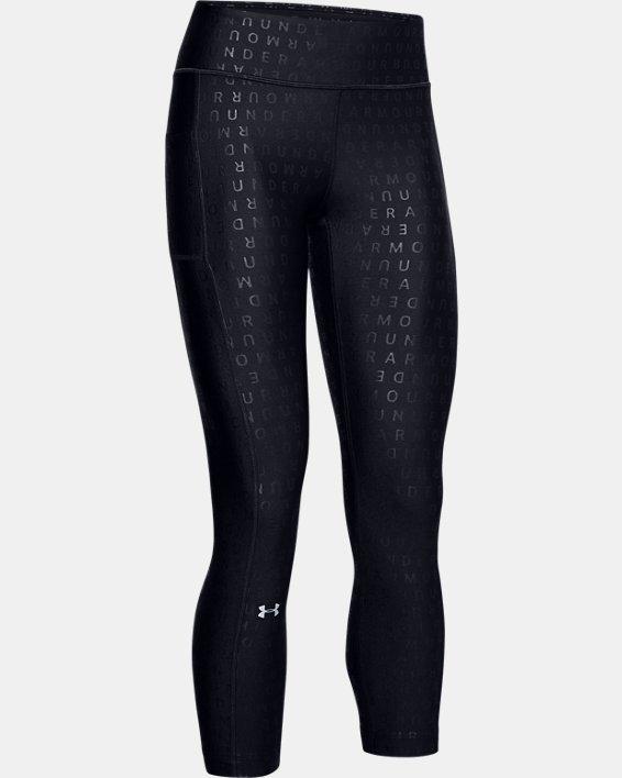 Women's HeatGear® Armour Printed Ankle Crop, Black, pdpMainDesktop image number 3