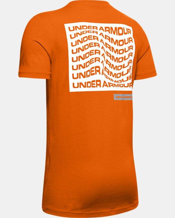 Boys' UA Warped Wordmark Left Chest Short Sleeve, Orange, pdpMainDesktop image number 1