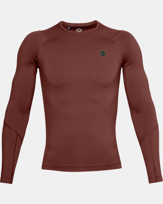 Men's UA RUSH™ HeatGear® Compression Long Sleeve, Red, pdpMainDesktop image number 3