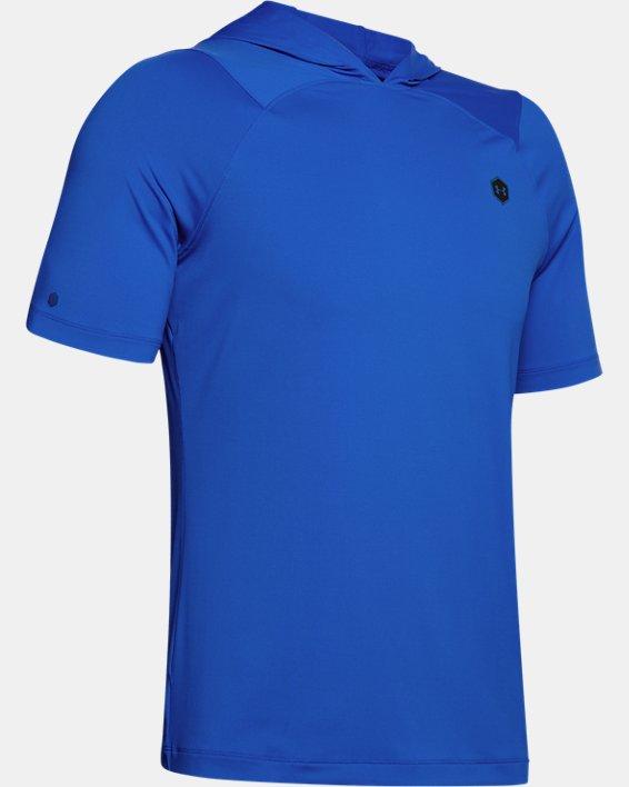 Men's UA RUSH™ HeatGear® Short Sleeve Hoodie, Blue, pdpMainDesktop image number 3