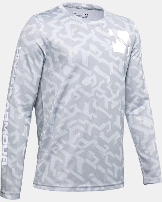 Boys' UA Velocity Jacquard Long Sleeve, Gray, pdpMainDesktop image number 0