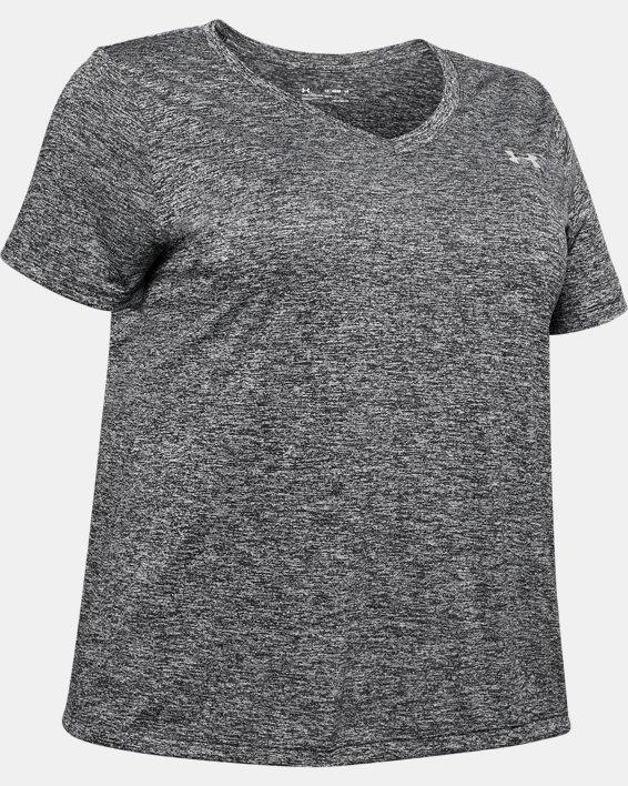 Women's UA Tech™ Twist V-Neck Short Sleeve, Black, pdpMainDesktop image number 4
