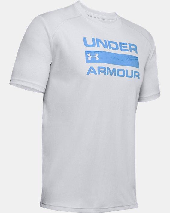 Men's UA Iso-Chill Stacked Short Sleeve, Gray, pdpMainDesktop image number 4