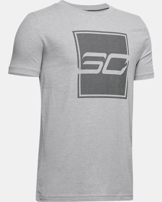 Boys' Curry Graphic Branded T-Shirt, Gray, pdpMainDesktop image number 0